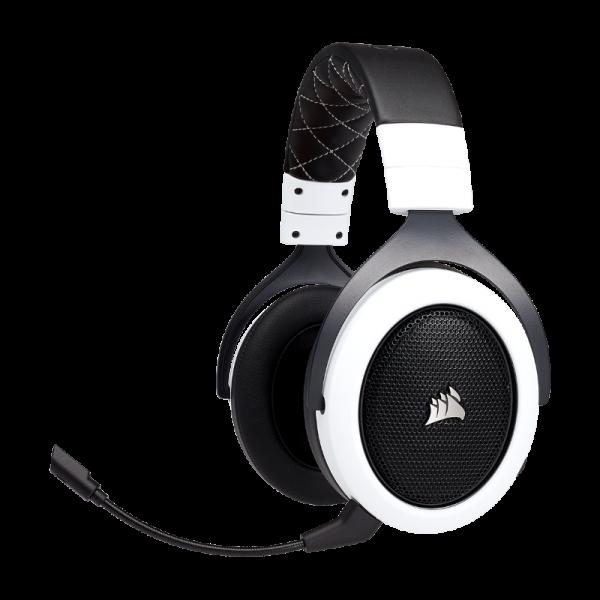 SUPER KAINA! Bevielės Žaidimų Ausinės Corsair Gaming HS70 White (Baltos) 7.1 (Wireless 2.4G)