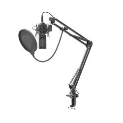 Komplektas: Kondensatorinis Mikrofonas Genesis Radium 400 Black (Juodas) + Pop-Filter + Shock-Mount + Adjustable Arm + Wind-Screen