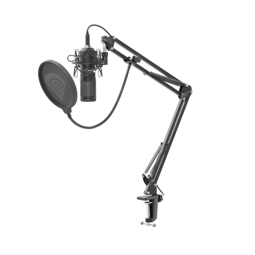 Komplektas: Kondensatorinis Mikrofonas Genesis Radium 400 Black (Juodas) + Pop-Filter + Shock-Mount + Adjustable Arm + Wind-Screen