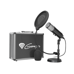 Komplektas: Kondensatorinis Mikrofonas Genesis Radium 600 Black (Juodas) + Pop-Filter + Flight-Case + Stand + Wind-Screen