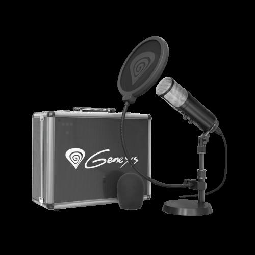 Komplektas: Kondensatorinis Mikrofonas Genesis Radium 600 Black (Juodas) + Pop-Filter + Flight-Case + Stand + Wind-Screen