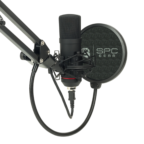 Komplektas: Kondensatorinis Mikrofonas Silentium PC Gear SM900 Black (Juodas) + Pop-Filter + Shock-Mount + Adjustable Arm