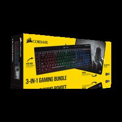 Komplektas: Žaidimų Klaviatūra Corsair Gaming K55 RGB + Pelė M55 RGB Pro + Pelės Kilimėlis MM300 Medium
