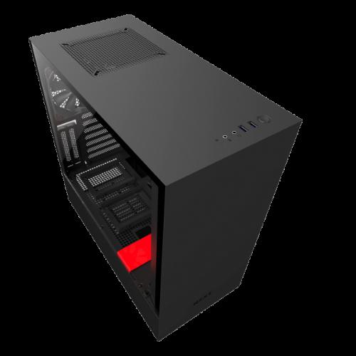 Kompiuterio Korpusas NZXT H Series H500 Mid-Tower Matte Black Red TG (Juodai Raudonas)