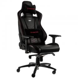 PRISTATYMAS 1-2 D.D.! Žaidimų Kėdė noblechairs EPIC Black/Red PU Leather (Juodai Raudona PU Oda) + DOVANA Šviečiantis Kilimėlis QPAD FLX-100