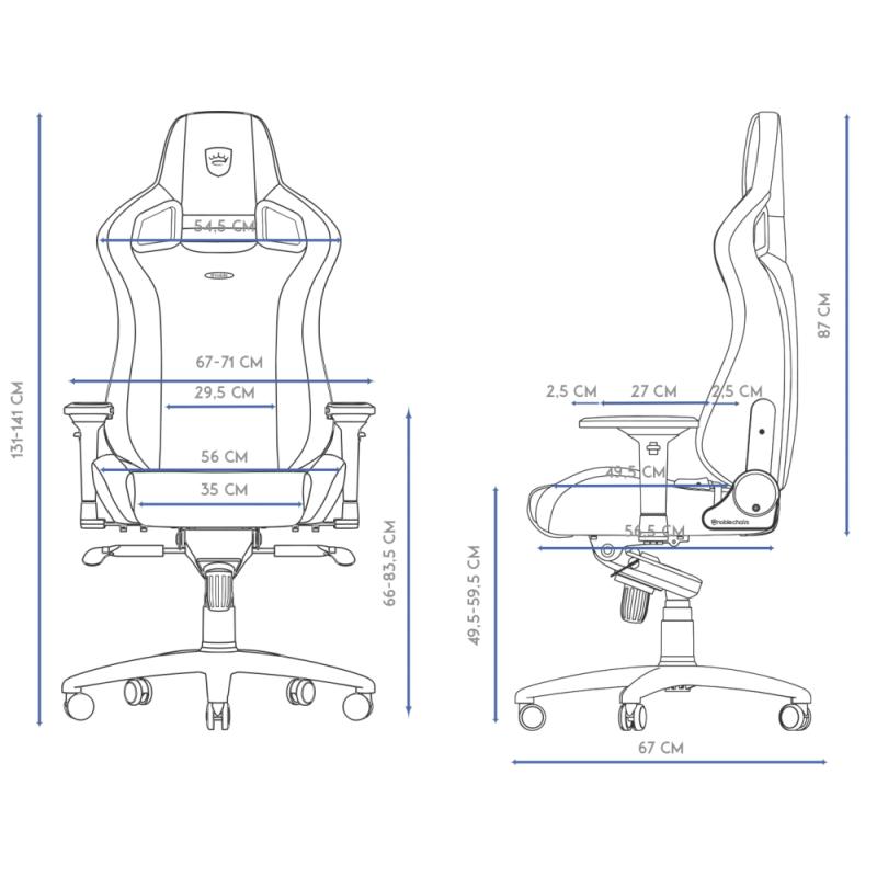 Ergonominės Žaidimų Kėdės noblechairs EPIC išmatavimai